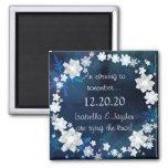 Glitzy Bridal Wreath Winter Wedding Save the Date 2 Inch Square Magnet