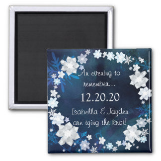 Glitzy Bridal Wreath Winter Wedding Save the Date Magnet
