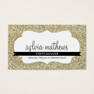 GLITZY BUSINESS CARD sparkly glitter pale gold