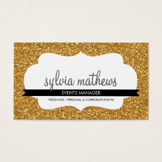 GLITZY BUSINESS CARD sparkly glitter rich gold