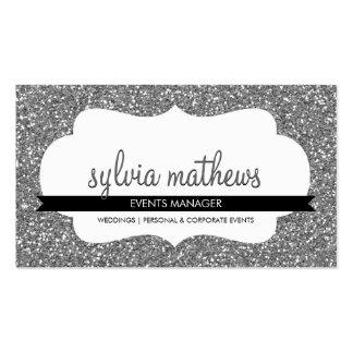 GLITZY BUSINESS CARD sparkly glitter silver