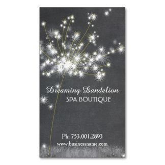 Glitzy Chalkboard Dandelion Business Card Magnet