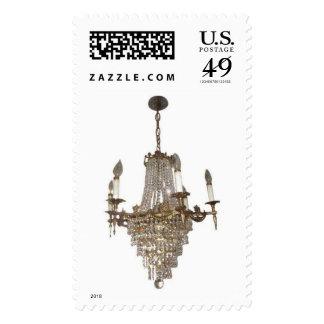 Glitzy chandelier mailing postage stamp