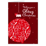 Glitzy Christmas sparkle bauble red card