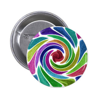 Glitzy Colorful Soft Glitter Effect Swirl Pattern Pinback Button