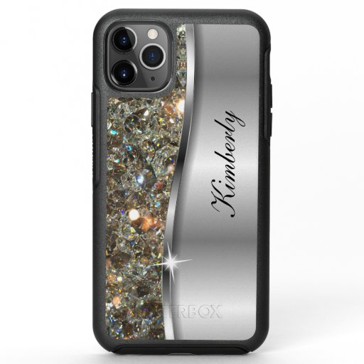 Glitzy Cool Monogram Silver Metallic Look OtterBox Symmetry iPhone 11 Pro Max Case