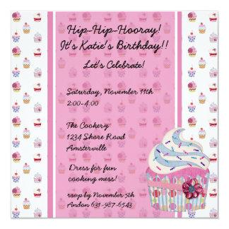 Glitzy Cupcake Invitaiton Announcements