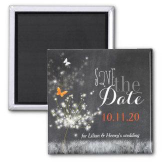 Glitzy Dandelions Chalkboard Wedding Save the Date Fridge Magnets