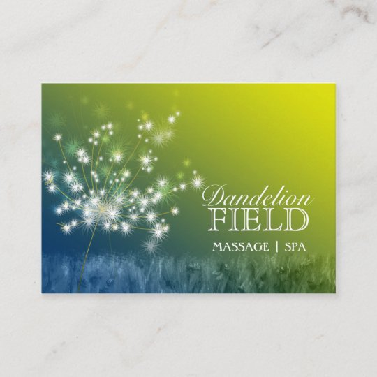 glitzy dandelions massage spa business cards - Spa Business Cards