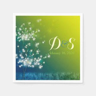 Glitzy Dandelions Monogram Floral Wedding Napkin