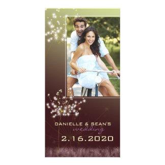 Glitzy Dandelions Wedding Save the Date Card
