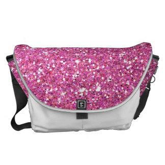 Glitzy Fuschia Glitter Courier Bag