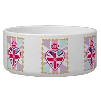 Glitzy Girly Union Jack Heart and Crown Stamp Pet Food Bowl