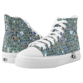 Glitzy Glitter Sparkly Silver Slipper Bling High-Top Sneakers