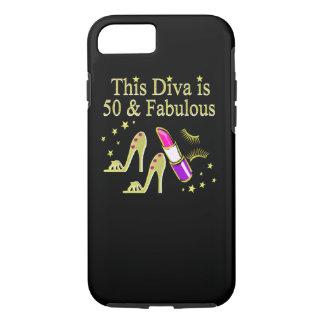 GLITZY GOLD 50TH BIRTHDAY DIVA DESIGN iPhone 8/7 CASE