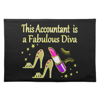 GLITZY GOLD ACCOUNTANT DESIGN CLOTH PLACEMAT