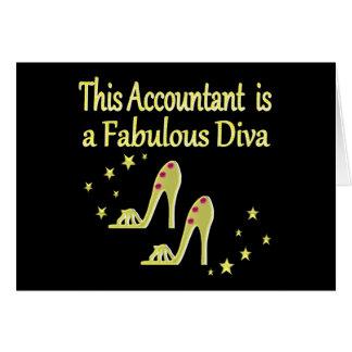 GLITZY GOLD ACCOUNTANT DIVA DESIGN CARD