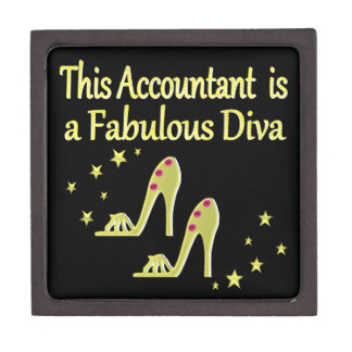 GLITZY GOLD ACCOUNTANT DIVA DESIGN KEEPSAKE BOX