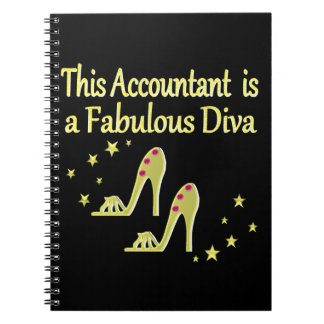 GLITZY GOLD ACCOUNTANT DIVA DESIGN NOTEBOOK