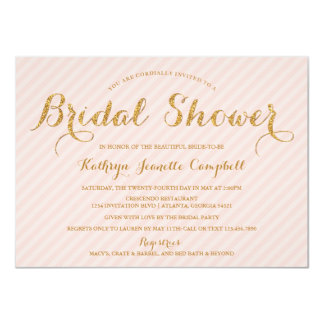 "Glitzy Gold Glitter Bridal Shower Invite - Blush 4.5"" X 6.25"" Invitation Card"