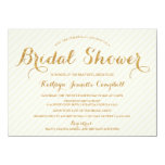 Glitzy Gold Glitter Bridal Shower Invite - Ivory