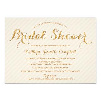 """Glitzy Gold Glitter Bridal Shower Invite - Peach 4.5"""" X 6.25"""" Invitation Card"""
