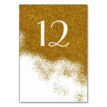 Glitzy Gold Glitter Look Wedding Table Number Card Table Card