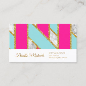 Glitzy Gold Glitter Pink Blue Stripes and Marble Business Card