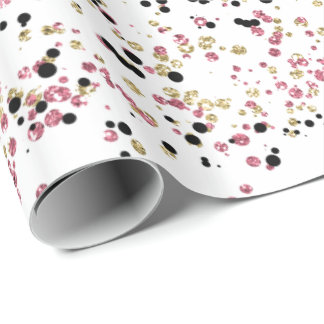 Glitzy Gold Pink Black Confetti Dots Wrapping Paper