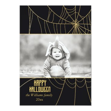 Halloween Themed Glitzy Gold Spider Web | Halloween Photo Cards