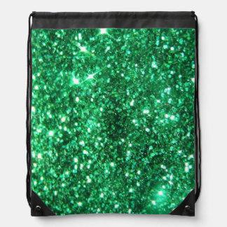 Glitzy Green Glitter Drawstring Backpack