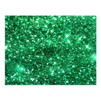 Glitzy Green Glitter Postcard