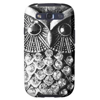 Glitzy Jewelled Metal Owl Samsung Galaxy S3 Cases