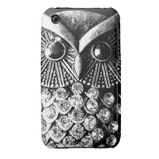 Glitzy Jewelled Metal Owl iPhone 3 Cases