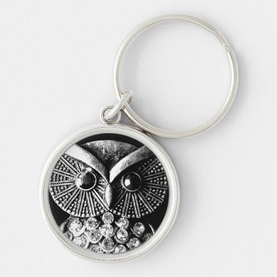 Glitzy Jewelled Metal Owl Keychain