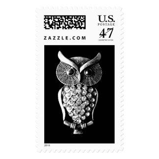 Glitzy Jewelled Metal Owl Postage