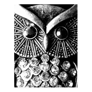 Glitzy Jewelled Metal Owl Postcard
