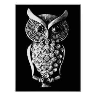 Glitzy Jewelled Metal Owl Poster
