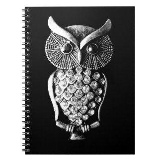 Glitzy Jewelled Metal Owl Spiral Notebook