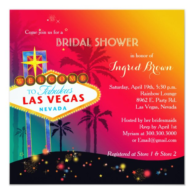 glitzy las vegas bridal shower card zazzle