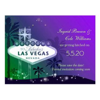 Glitzy Las Vegas Wedding Save the Date Postcards