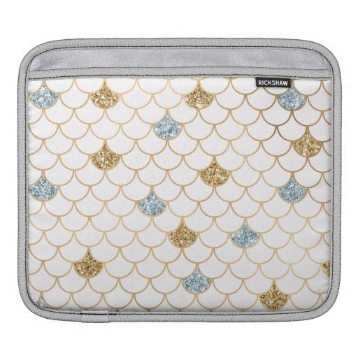 Glitzy Mermaid Blue Gold Sparkle Glitter iPad Sleeve