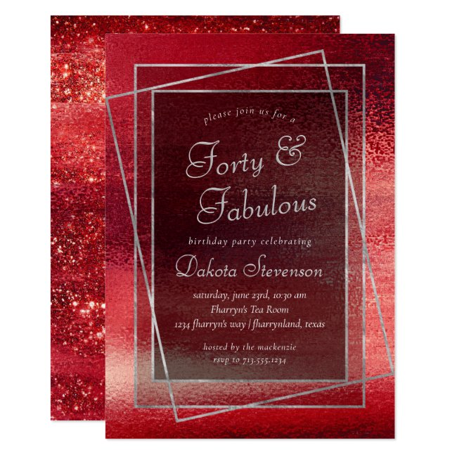 Glitzy Minimalist | Crimson Red Forty and Fabulous Invitation