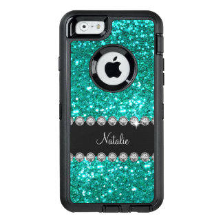 Glitzy Monogram Faux Glitter OtterBox Defender iPhone Case