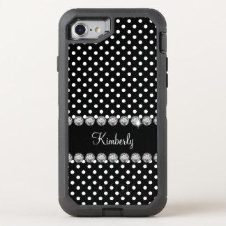 Glitzy Monogram Polka Dot OtterBox Defender iPhone 7 Case