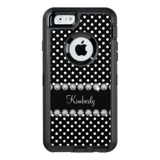 Glitzy Monogram Polka Dot OtterBox Defender iPhone Case