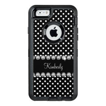 Glitzy Monogram Polka Dot Otterbox Defender Iphone Case by idesigncafe at Zazzle