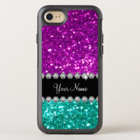 Glitzy Monogram Sparkling Faux Glitter OtterBox Symmetry iPhone 7 Case