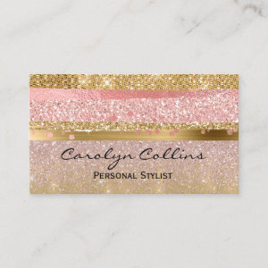 Glitzy Pink and Gold Glittery Business Card