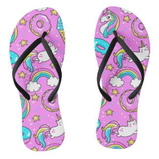 Glitzy pink rainbow sprinkles unicorn cat  pattern flip flops